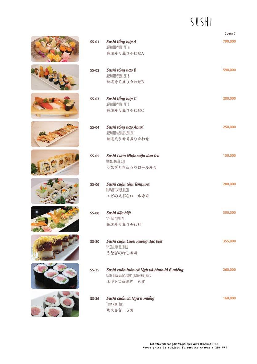 Menu Azuma Japanese Restaurant - Ngọc Khánh 16
