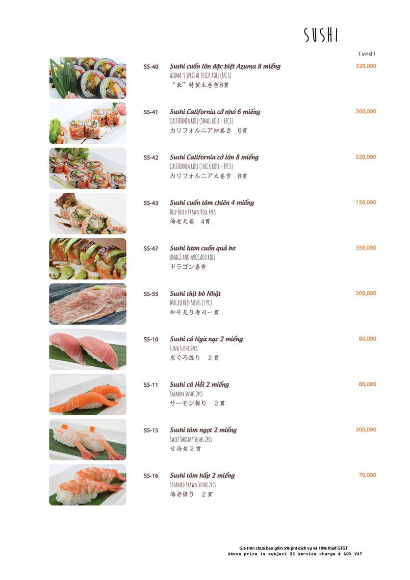 Menu Azuma Japanese Restaurant - Ngọc Khánh 17