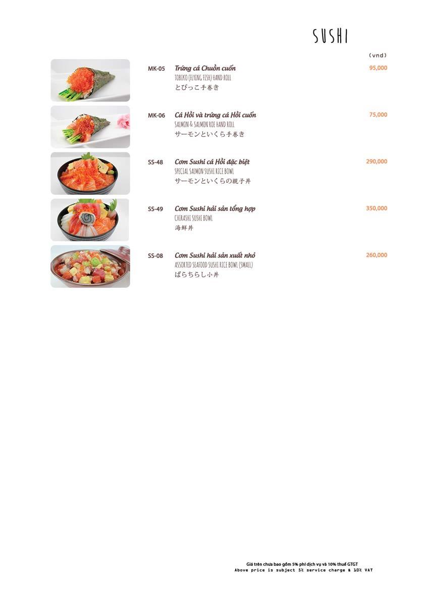 Menu Azuma Japanese Restaurant - Ngọc Khánh 18