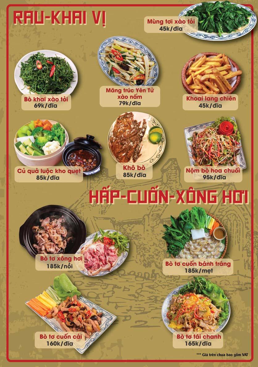 Menu Bò Tơ Quán Mộc - Thái Thịnh 1