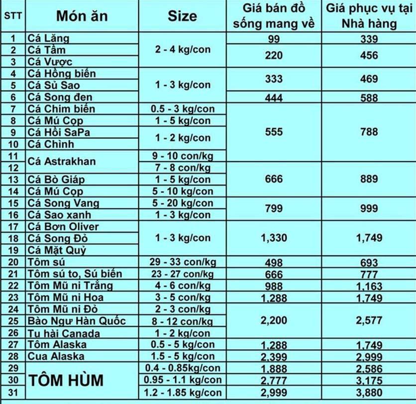 Menu Hải Sản Biển Đông - 794 Đường Láng 1