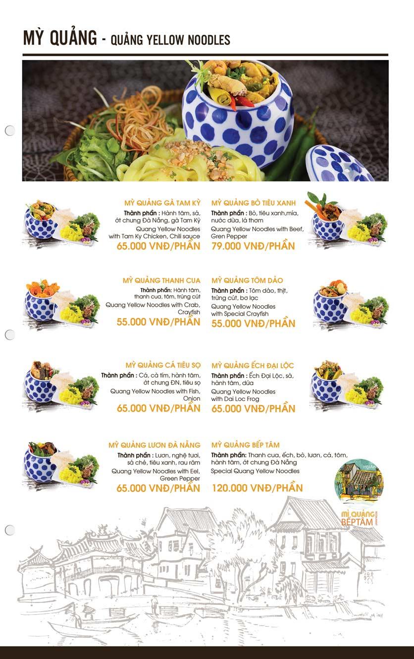 Menu Mì Quảng Bếp Tâm - Hàng Bài 2