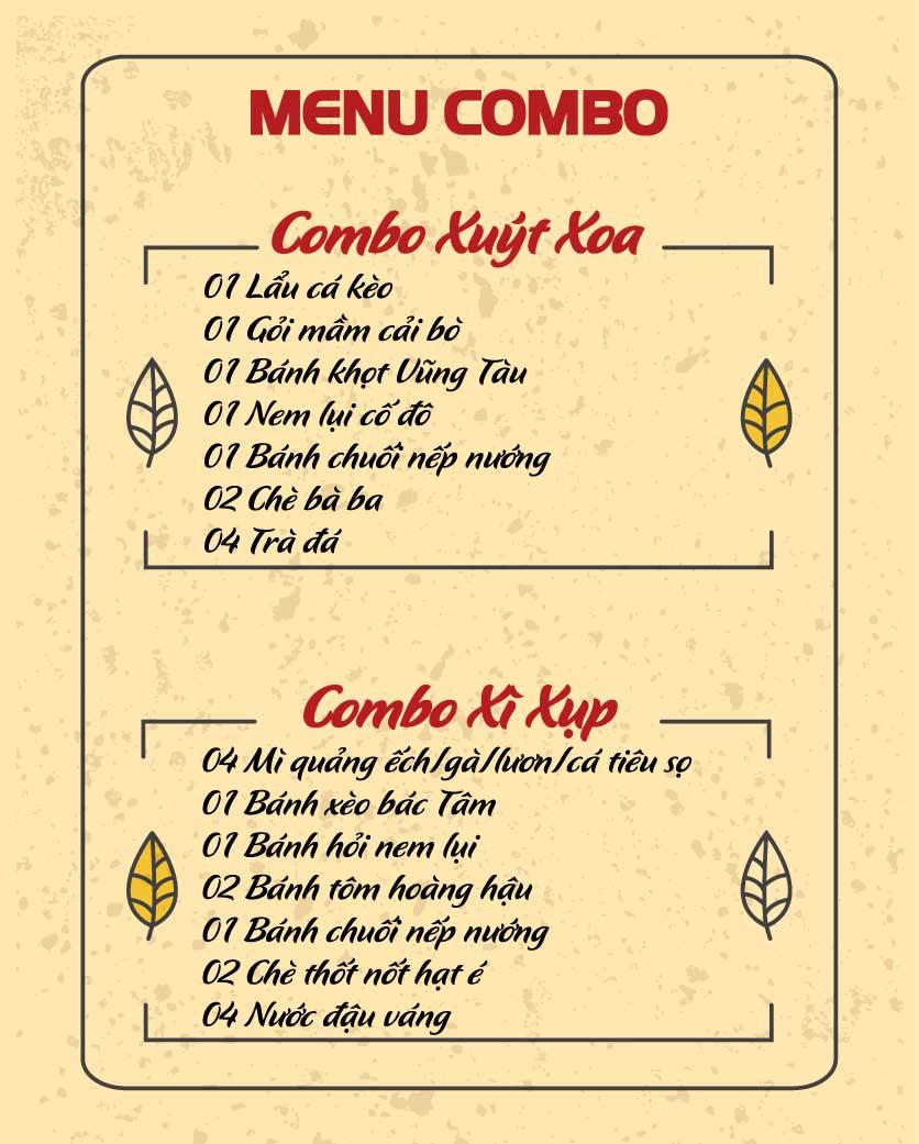Menu Mì Quảng Bếp Tâm - Hàng Bài 1