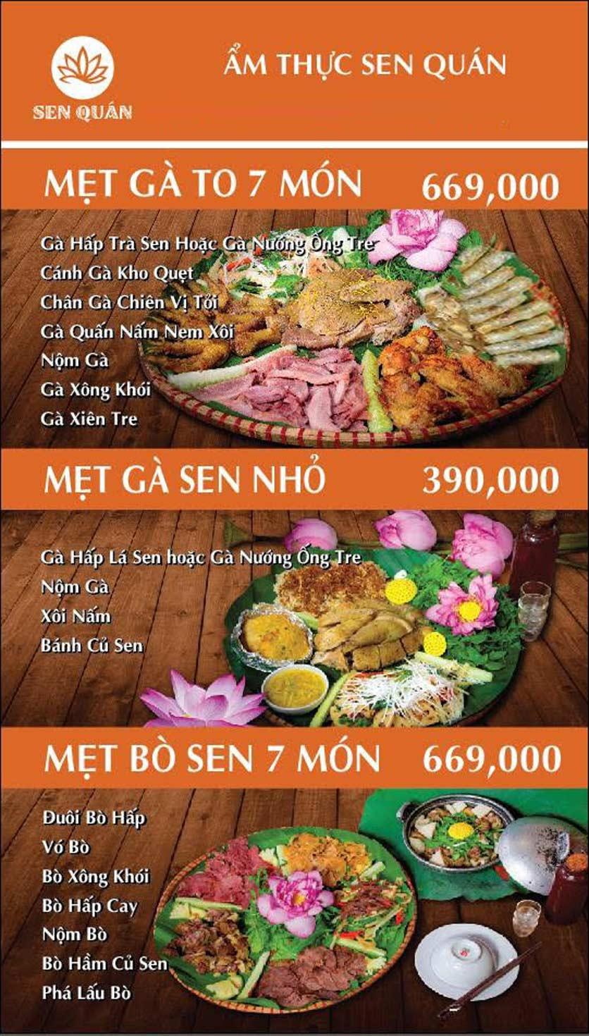 Menu Sen Quán - Huỳnh Thúc Kháng 2