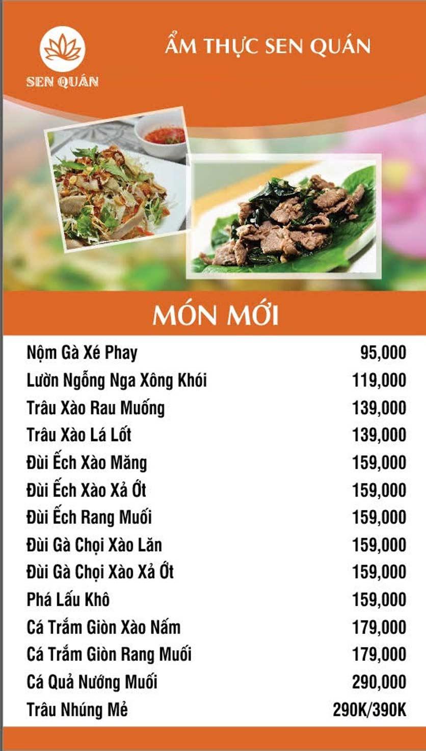 Menu Sen Quán - Huỳnh Thúc Kháng 4