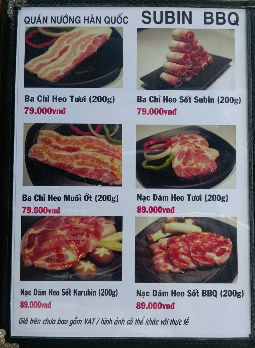 Menu Subin BBQ - Củ Chi 1