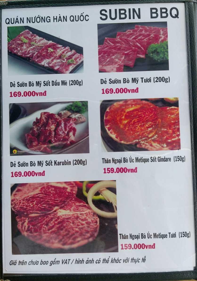 Menu Subin BBQ - Củ Chi 4