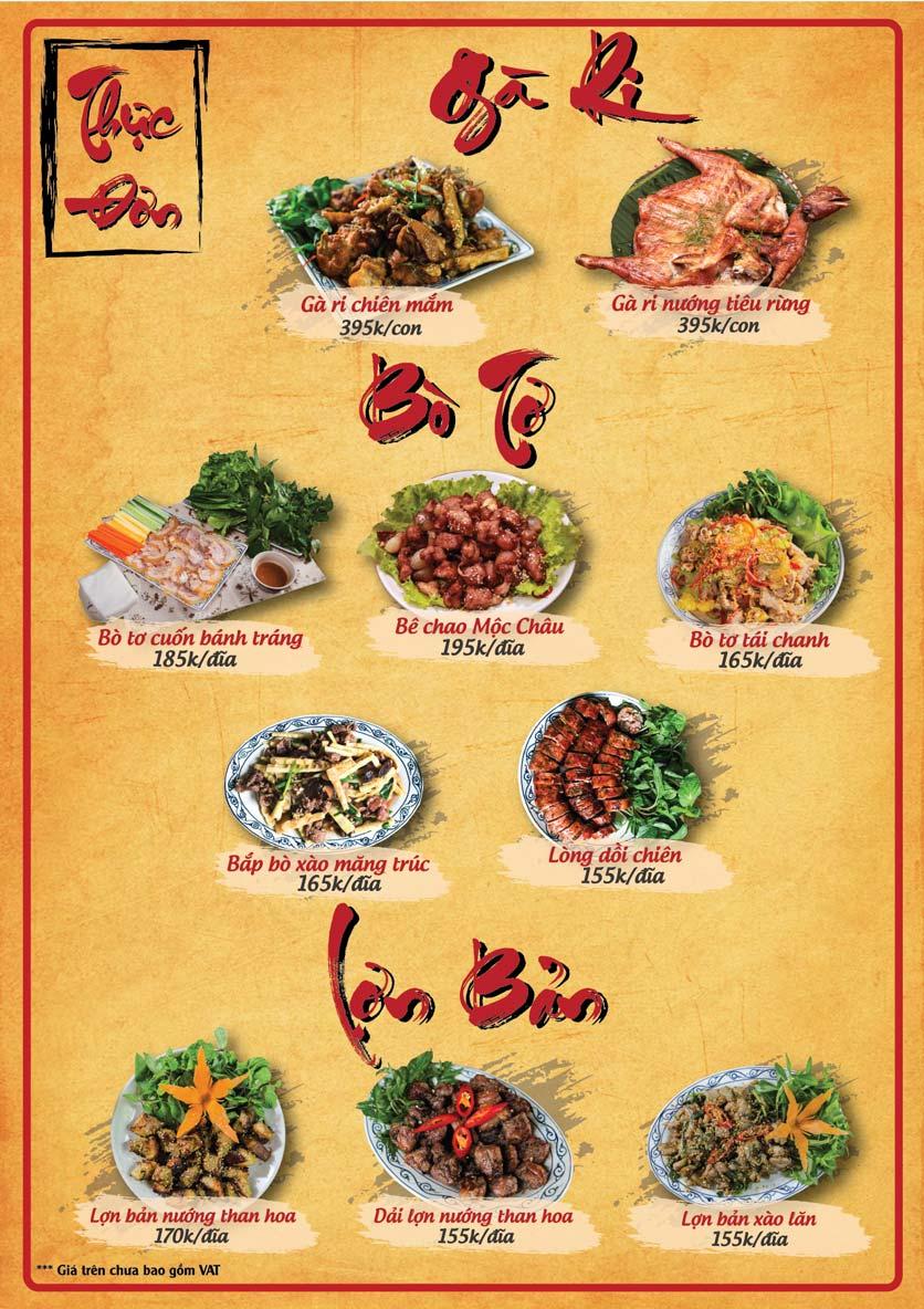 Menu Tân Lương Sơn  3