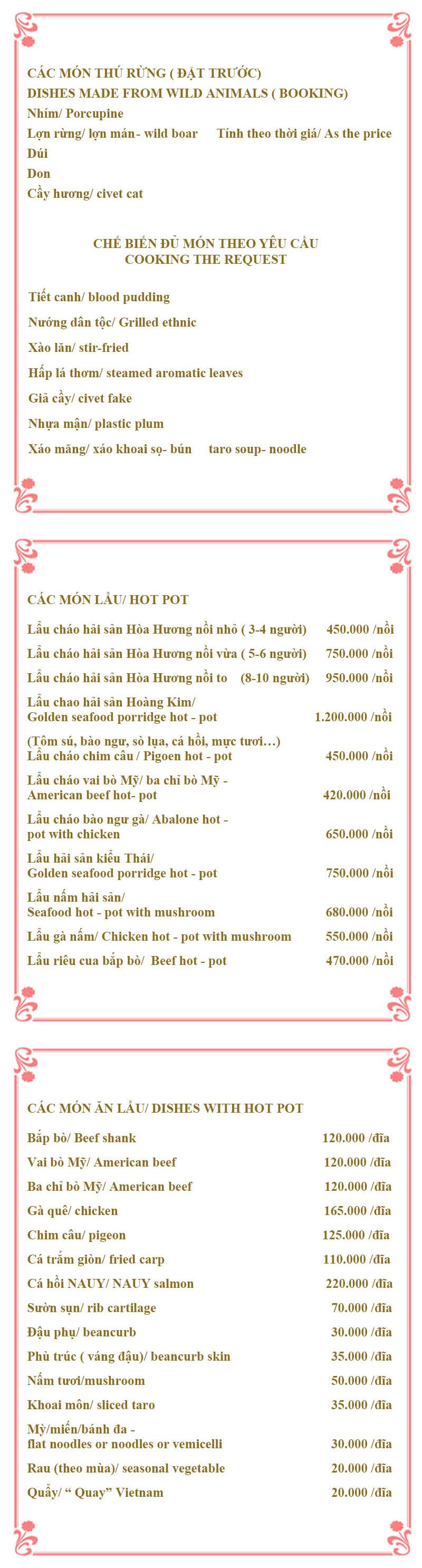 Menu Lẩu Cháo Hòa Hương 4