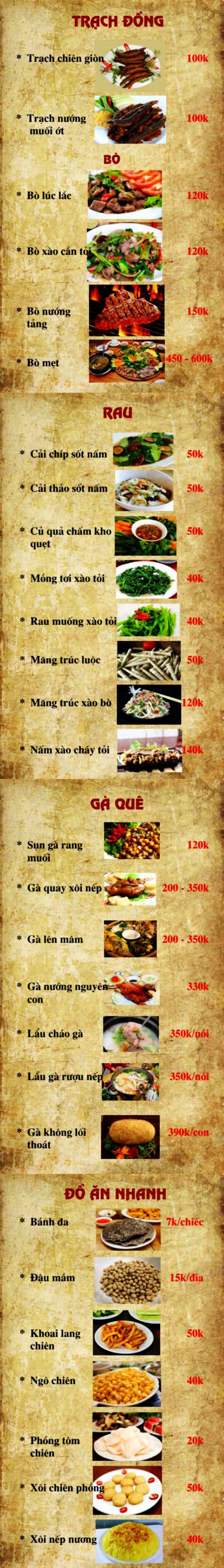 Menu Quán Quê - Hào Nam 2