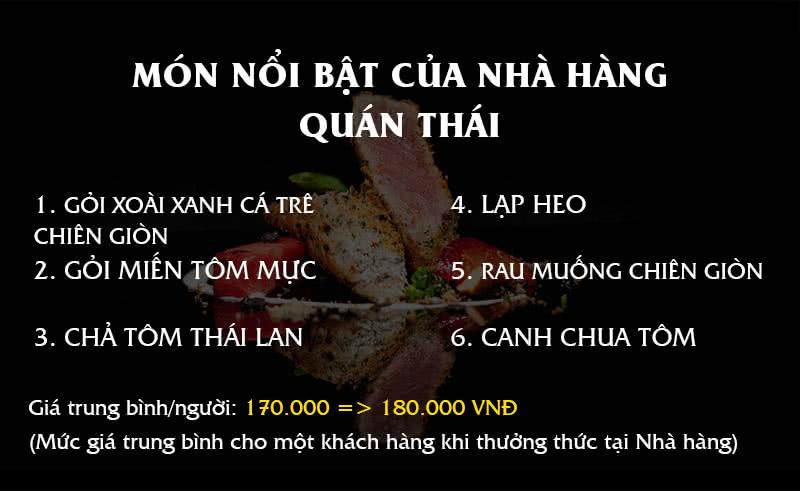 Menu Quán Thái 1