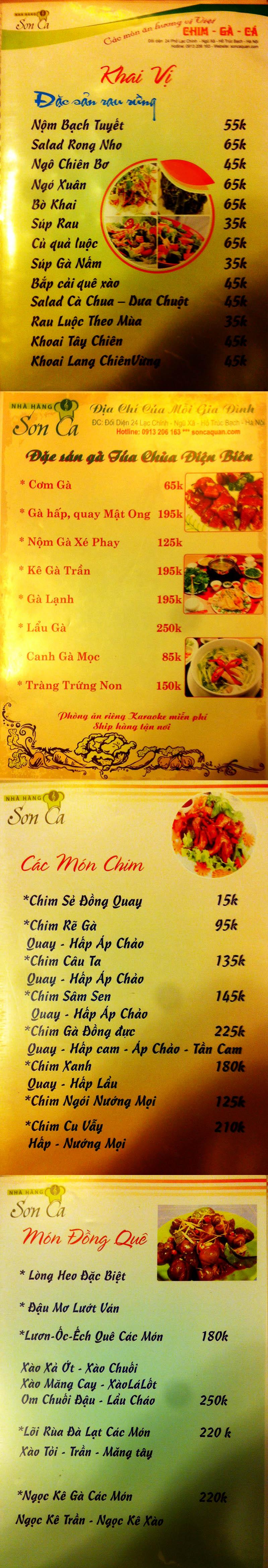 Menu Sơn Ca  1