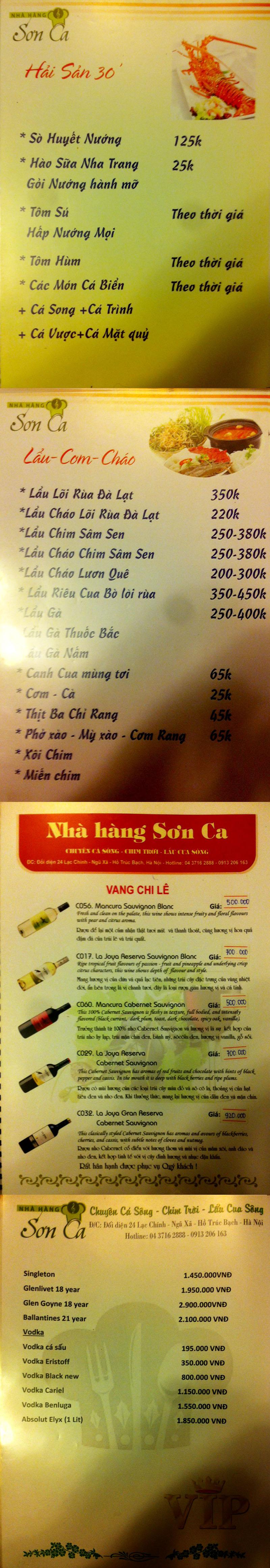 Menu Sơn Ca  2