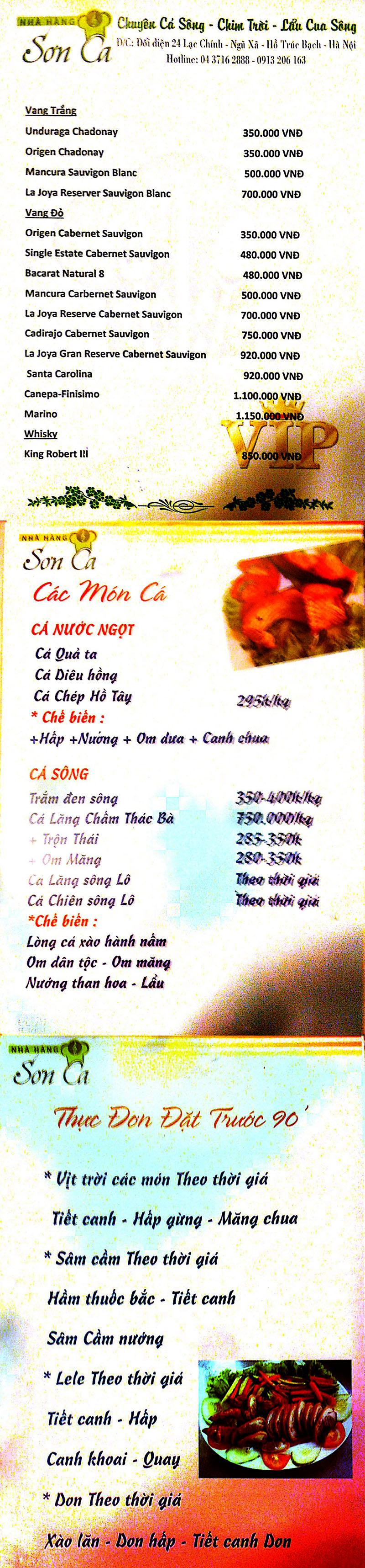Menu Sơn Ca  3