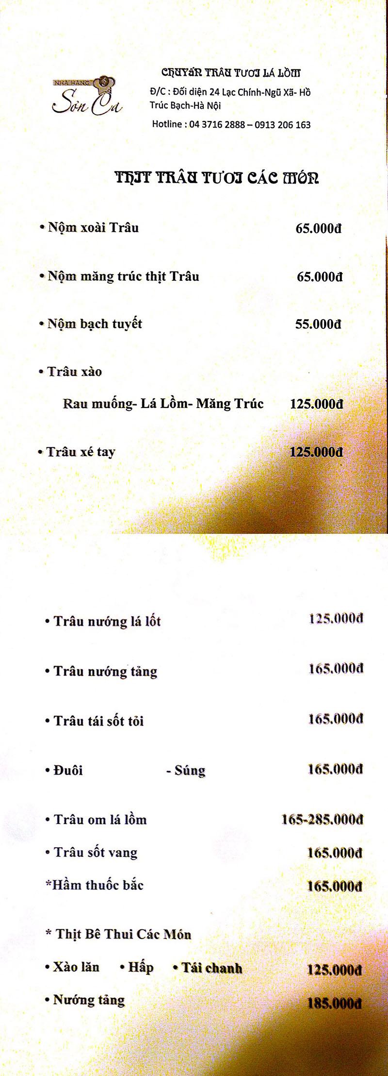 Menu Sơn Ca  4