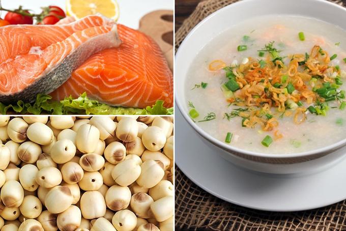 Nguyên liệu nấu cháo gồm cá hồi và đậu xanh